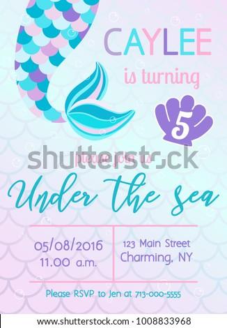 Mermaid birthday invitation. Under the sea theme party. Vector illustration