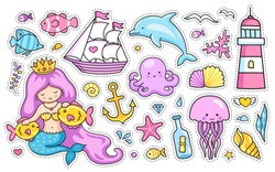 Mermaid, dolphin, sailing ship, jellyfish, octopus, fish, sea shell, lighthouse, anchor, starfish. Set of cartoon stickers, patches, badges, pins, prints for kids. Doodle style.