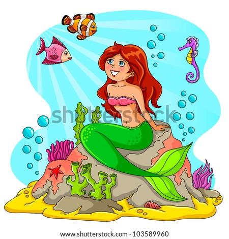 mermaid in the sea  vector