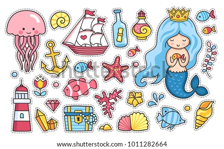 Mermaid, jellyfish, cute sea animals, fish, sea shell, lighthouse, anchor, starfish, treasure chest. Set of cartoon stickers, patches, badges, pins, prints for kids. Doodle style. Vector illustration.