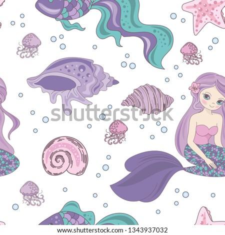 MERMAID PASSION Princess Girl Underwater Tropical Ocean Travel Cruise Sea Seamless Pattern Vector Illustration Print Fabric Digital Paper