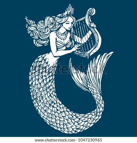 Mermaid playing harp ink tattoo sketch hand drawn outline line art vector illustration for coloring book page