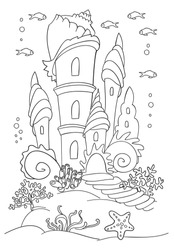 Mermaid s castle at ocean bottom. Coloring book page, black and wight. Doodle style, Hand draw. sea inhabitants and seaweed