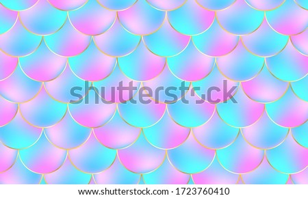 Mermaid Scales. Fish Squama. Kawaii Pattern. Mermaid Holographic Background. Color Vector Illustration. Pink, Blue Mermaid Scales Print. Photo stock ©