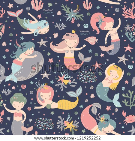 Mermaid seamless pattern Vector print with cute girls. Pastel colors. Kids background