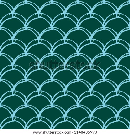 Stock Photo Mermaid tail seamless pattern. Fish skin texture. Tillable background for girl fabric, textile design, wrapping paper, swimwear or wallpaper. Blue mermaid tail background with fish scale underwater.