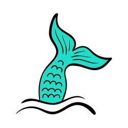 Mermaid tail vector graphic illustration. Hand drawn teal, turquoise mermaid, fish tail in sea, ocean waves.