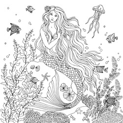 Mermaid undersea, hand drawn vector illustration on a white background for coloring book