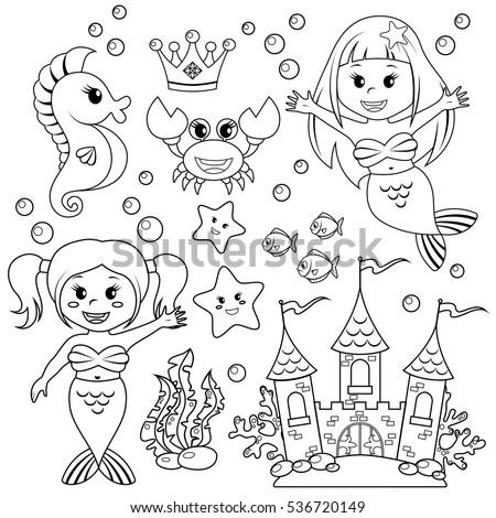 mermaid  underwater castle and