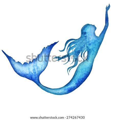 mermaid watercolor vector