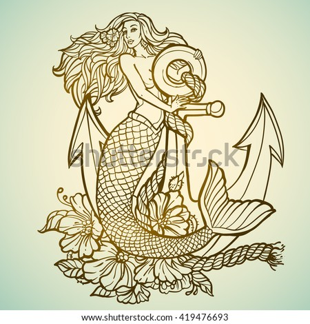mermaid with anchor and flowers ...