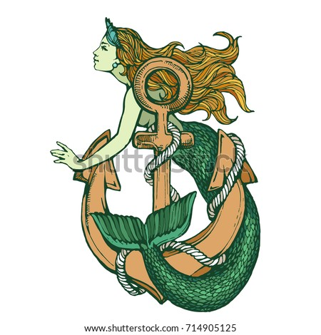 Mermaid with anchor color tattoo hand drawn ink sketch stock vector illustration Сток-фото ©