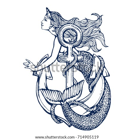 Mermaid with anchor tattoo hand drawn ink sketch stock vector illustration coloring book page Сток-фото ©