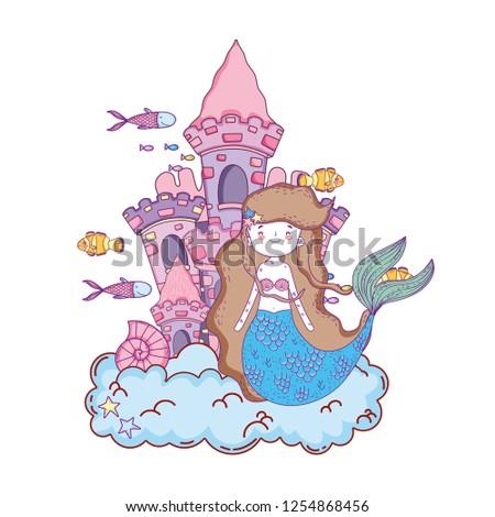 mermaid with castle undersea scene