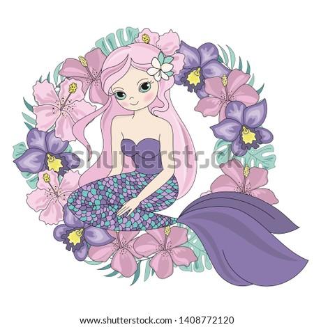MERMAID WREATH Floral Sea Princess Vector Illustration Set