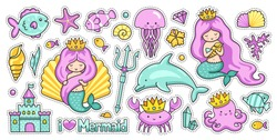Mermaids, fish, dolphin, crab, octopus, jellyfish, castle, trident, crown, diamond. Set of kawaii sea cartoon stickers. Vector collection.