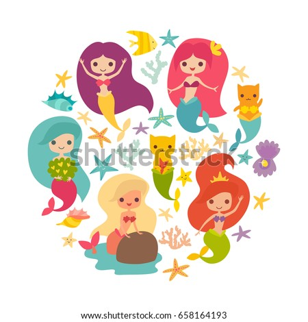 mermaids girls vector