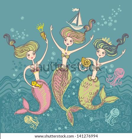 mermaids three little funny