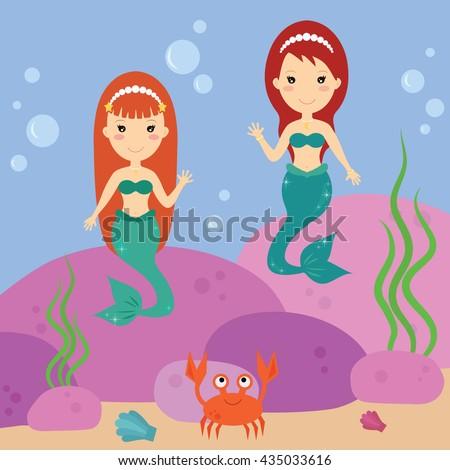mermaids waving underwater sea