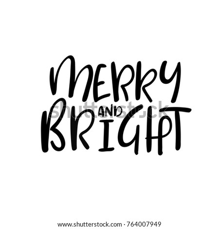 merry and bright christmas and happy new year cards modern