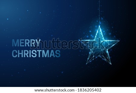 Merry Chistmas greeting card with star christmas toy. Low poly style design. Abstract geometric background. Wireframe light connection structure Modern 3d graphic concept. Isolated vector illustration