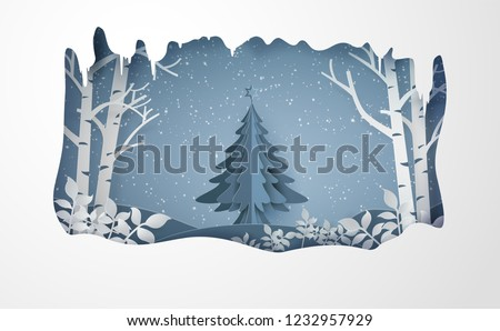 Merry chrismas and winter with snow and christmas tree.paper art style.