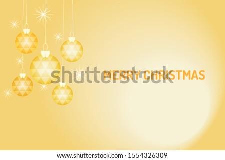 Merry Chrismas vector, gold chrismas ball hanging on the yellow background