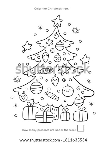 Merry Christas worksheets and coloring page for kids. Happy New year activity for kids