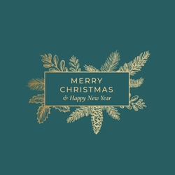 Merry Christmas Abstract Botanical Card with Rectangle Frame Banner and Modern Typography. Premium Green Background and Golden Greeting Sketch Layout.