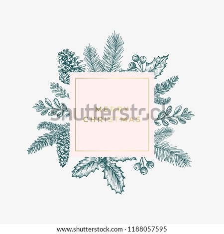 Merry christmas Abstract Green Foliage Card with Square Frame Banner and Modern Golden Typography. Pink Pastel Colors Greeting Layout. Isolated.