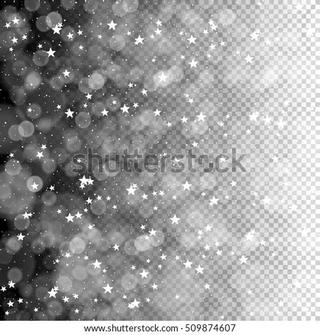 Merry Christmas Abstract Lights Background. Stars and Snowflakes pattern. Isolated on transparent background, easy to use in design projects for holiday, as is postcard, invitations, covers, posters.. - Shutterstock ID 509874607