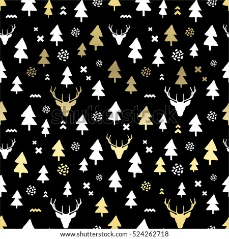 Merry Christmas abstract pattern with christmas tree, deer and cross. Vector illustration.