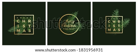 Merry Christmas Abstract Vector Classy Labels, Signs or Background Templates Set. Hand Drawn Fir-Needle Spruce Branch Illustrations with Golden Framed Typography Premium Holiday Greeting Cards Bundle.