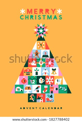 Merry Christmas advent calendar card illustration, flat folk cartoon pine tree with festive xmas season decoration in modern geometric style and December day countdown number mosaic.