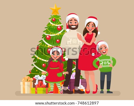Merry Christmas and a Happy New Year. Family and Christmas tree with gifts. Template for congratulations on the holiday. Vector illustration in cartoon style