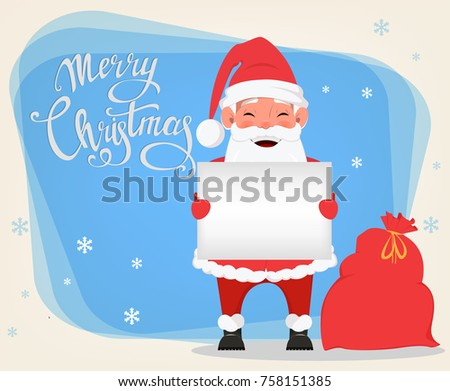 merry christmas and a happy new year greeting card with smiling santa claus holding blank placard