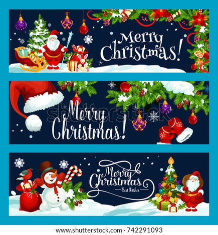 Stock Photo Merry Christmas and best wish greeting banners design template. Vector Santa gift bag at Christmas tree, snowman on sleigh and Xmas decorations on snow for winter holiday seasonal celebration