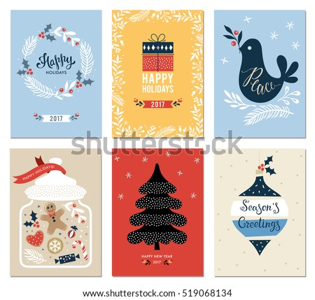 Merry Christmas and Happy Holidays cards set with New Year tree, gift box, dove, jar, ornaments and wreath. Vector illustration.