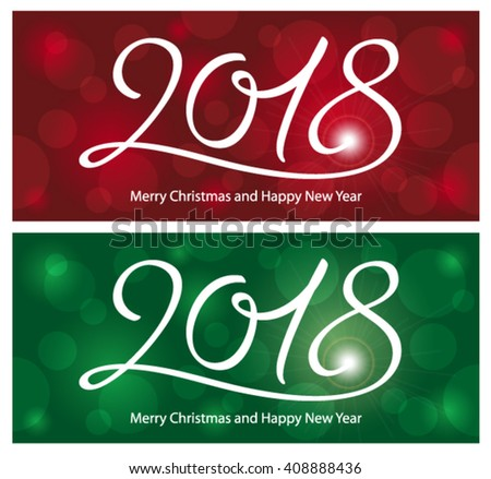 Merry Christmas And Happy New Year 2018 Stock Vector Illustration 408888436 :...