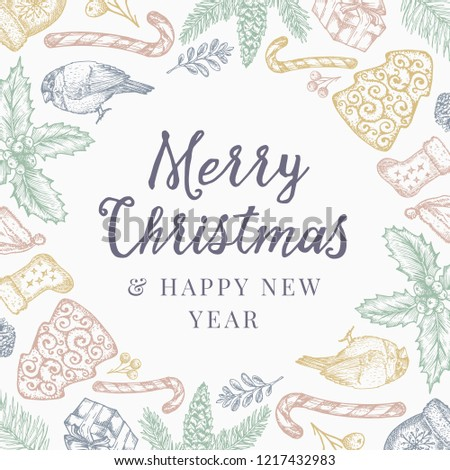 Merry Christmas and Happy New Year Abstract Pattern Background, Invitation or Greeting Card with Retro Typography. Pastel Colors Sketch Drawing Layout. Isolated. #1217432983
