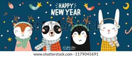 Merry Christmas And Happy New 2019 Year animal card with holiday lettering and traditional christmas elements. Cute illustration of funny animals in scandinavian style. Vector. Blue backround.