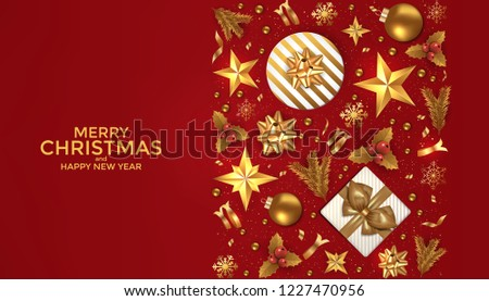 merry christmas and happy new year background design with holiday ornaments decorationluxury greeting card