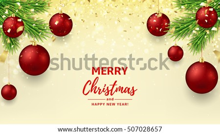merry christmas and happy new year background elegant vector illustration with gold confetti for xmas