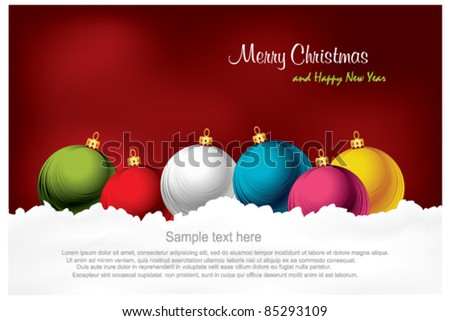 Merry Christmas and Happy New Year Background with balls