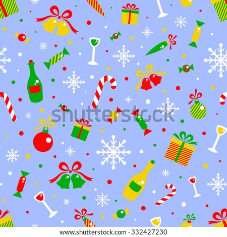Merry Christmas And Happy New Year Background With Flat Icons