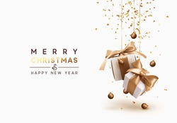 Merry Christmas and Happy New Year. Background with realistic festive gifts box. Xmas present. white boxes with beige ribbon gift surprise, Golden Christmas baubles, balls, glitter gold confetti.