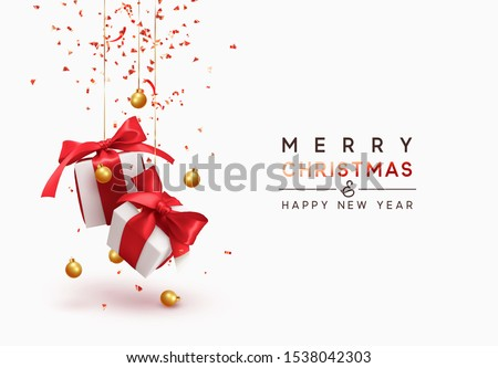 Merry Christmas and Happy New Year. Background with realistic festive gifts box. Xmas present. white with red ribbon gift surprise, Golden Christmas baubles, balls, glitter red confetti.
