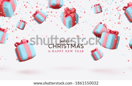 Merry Christmas and Happy New Year. Background with realistic festive gifts box. Xmas present. Blue boxes fall effect. Holiday gift surprise banner, web poster, flyer, stylish brochure, greeting card