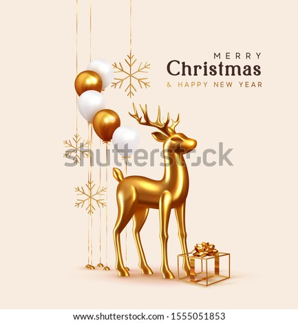 Merry Christmas and Happy New Year. Background with realistic festive helium balloons, hollow golden gift box with bow. Volume golden 3d deer. Xmas Metallic gold reindeer. Snowflakes hanging on ribbon