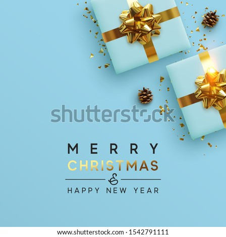 Merry Christmas and Happy New Year. Background Xmas design, realistic gifts box, brown pine cone, pine branch and glitter gold confetti. Christmas poster, greeting cards, headers, website